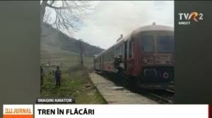 Cluj: The locomotive of a train of people caught fire